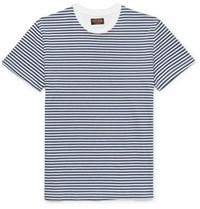 Tod's Striped Cotton Jersey T Shirt Navy