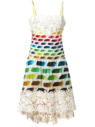 Chanel Vintage Embroidered Detail Printed Dress White