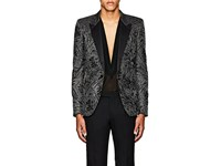 Saint Laurent Floral One Button Tuxedo Jacket Silver