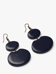 One Button Resin Disc Statement Drop Earrings Navy