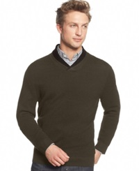 Club Room Merino Wool Double Shawl Collar Sweater Only At Macy's Olive Mist