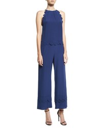 Red Valentino Scalloped Silk Halter Jumpsuit Navy