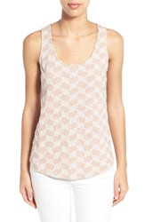 Women's Caslon Embroidered Cotton And Modal Tank Pink Fawn Embroidered Stripe