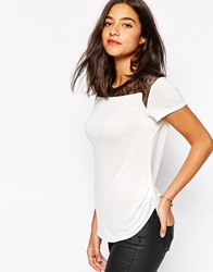 Karen Millen Lace Shoulder Detail T Shirt White