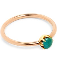Annina Vogel 9Ct Rose Gold And Turquoise Micro Solitaire Ring