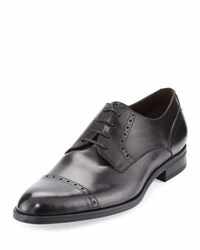 Ermenegildo Zegna Leather Cap Toe Derby Shoe Black