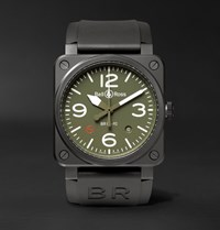 Bell And Ross Br 03 92 Military Type 42Mm Ceramic Rubber Watch Black
