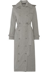 Norma Kamali Cotton Blend Trench Coat Gray