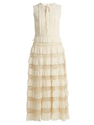 Red Valentino Scalloped Tiered Lace Insert Dress Ivory
