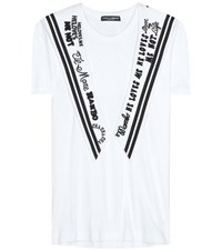 Dolce And Gabbana Embroidered Cotton T Shirt White
