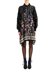 Alexis Mabille Square Dress In Folk Printed Silk With Braided Blue