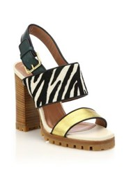 Marni Zebra Print Calf Hair And Metallic Leather Sandals Multi