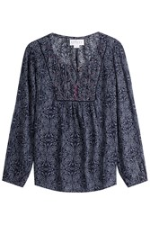 Velvet Printed Tunic Blouse Blue