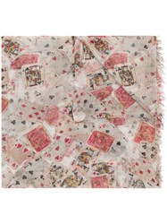 Faliero Sarti Playing Cards Printed Scarf Neutrals