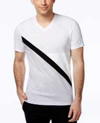 Inc International Concepts Faux Leather Men's Odysseus Spliced T Shirt Only At Macy's White Pure