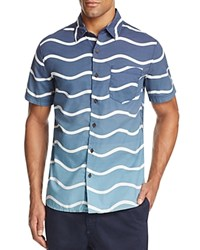 Surfside Supply Ombre Wave Print Regular Fit Button Down Shirt Blue