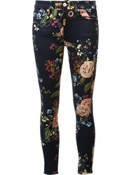 7 For All Mankind Floral Print Cropped Jeans Blue