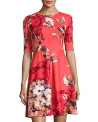 Taylor Floral Print Scuba Fit And Flare Dress Red Pattern