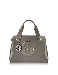 Armani Jeans Medium Taupe Faux Patent Leather Tote
