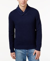 Tommy Hilfiger Men's Textured Shawl Collar Sweater Navy Blazer Heather