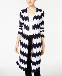 Ny Collection Chevron Open Front Duster Cardigan Navy White