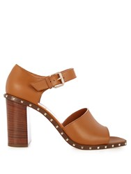 Valentino Soul Leather Block Heel Sandals Tan