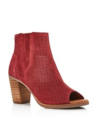 Toms Majorca Perforated Open Toe Booties Burgundy