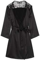 Agent Provocateur Marisela Lace Trimmed Stretch Satin Robe Black