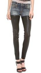 R 13 Leather Chap Jeans Bedford