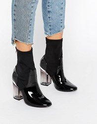 Truffle Collection Clear Heel Boot Black