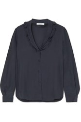 Frame Lettuce Collar Ruffled Washed Silk Blouse Navy