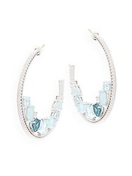 Judith Ripka Gemma Semi Precious Multi Stone Studded Sterling Silver Hoop Earrings Blue