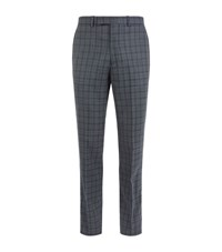 Hardy Amies Wool Tartan Check Trousers Male Dark Grey