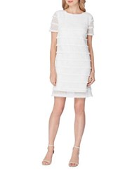 Tahari By Arthur S. Levine Petite Fringe Embroidered Shift Dress White