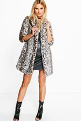 Boohoo Boutique Amber Leopard Print Faux Fur Coat Multi