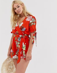Influence Wrap Playsuit With Puff Tie Sleeve In Red Floral Orange