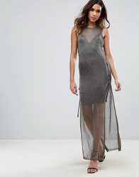 Wow Couture Metallic Crochet Knitted Lace Up Side Maxi Dress Charcoal Black
