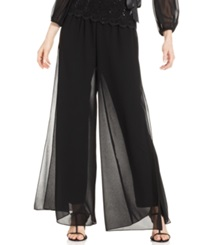 Alex Evenings Wide Leg Chiffon Pants Black