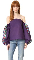 One By Lazuli Embroidered Off The Shoulder Top Purple Blue