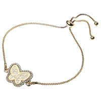 Adele Marie Filigree Butterfly Pave Set Adjustable Bracelet Gold
