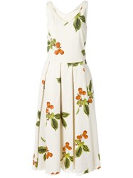 Nostra Santissima 'Savella' Cherry Print Dress Nude And Neutrals