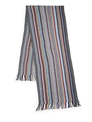 Missoni Chevron Patterned Knit Scarf Grey