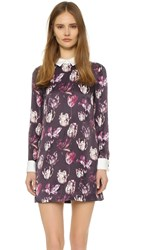 Cynthia Rowley Tulip Print Collared Dress Eggplant