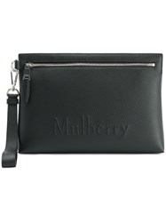 Mulberry Embossed Logo Clutch Black