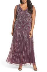 Pisarro Nights Plus Size Women's Embellished Double V Neck Gown Plum
