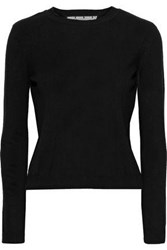 Red Valentino Redvalentino Woman Point D'esprit Trimmed Cashmere And Silk Blend Sweater Black