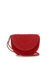 Diane Von Furstenberg Mini Bullseye Nubuck Messenger Cross Body Bag Red