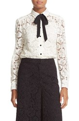 Kate Spade Women's New York Bow Tie Lace Shirt