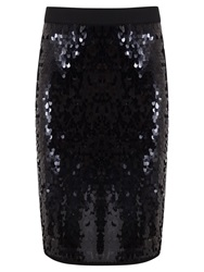 Mint Velvet Sequin Pencil Skirt Black