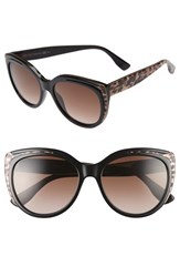 Jimmy Choo Women's 'Nicky' 56Mm Cat Eye Sunglasses Animal Black